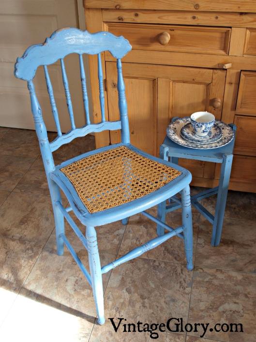 blue antique chair
